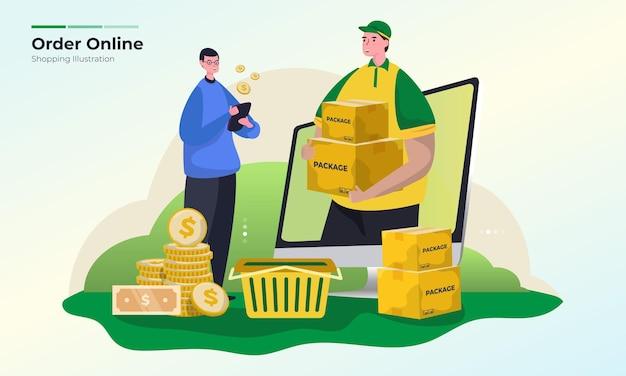 Concept d'illustration de magasinage de commande en ligne