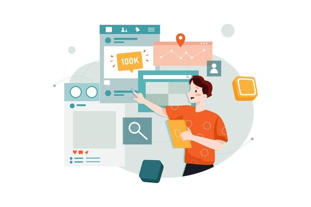 Concept d'illustration marketing des médias sociaux