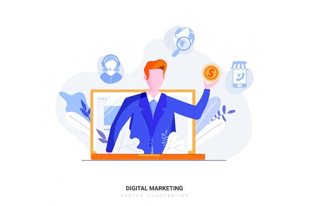 Concept d'illustration marketing numérique