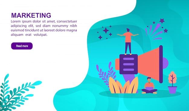Concept d'illustration marketing avec personnage. modèle de page de destination