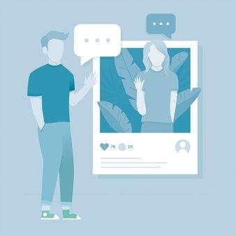 Concept d'illustration de médias sociaux