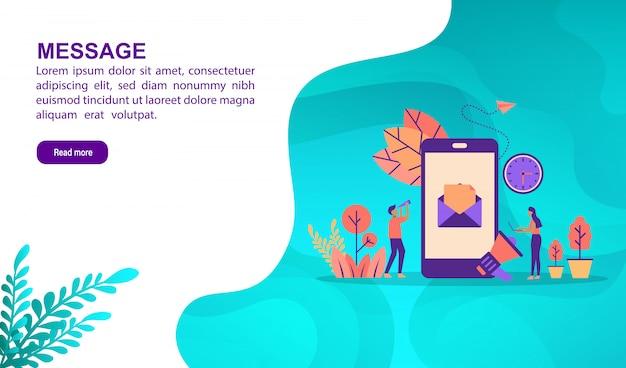 Concept d'illustration de message avec personnage. modèle de page de destination