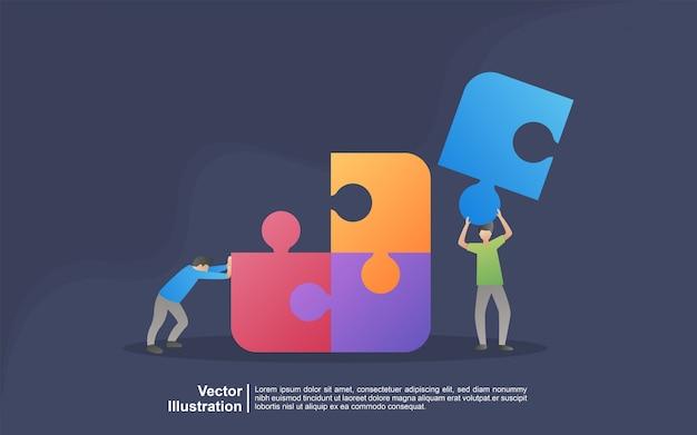 Concept d'illustration de métaphore d'équipe. coworking, freelance, travail d'équipe, communication, interaction, idée, concept d'activité indépendante. peut utiliser pour, page de destination, modèle, interface utilisateur, web, application mobile, bannière