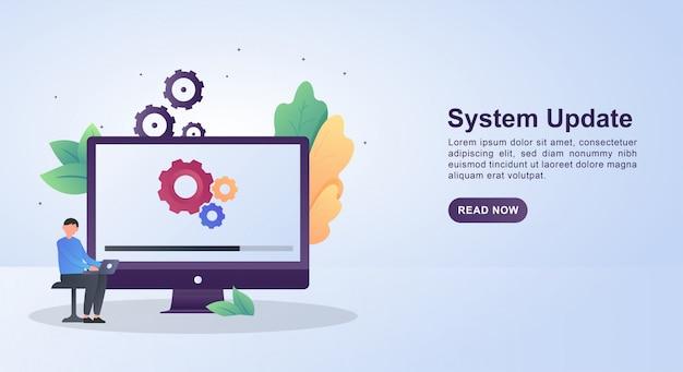Concept d'illustration de la mise à jour du système avec des engrenages et mise à jour à l'écran.