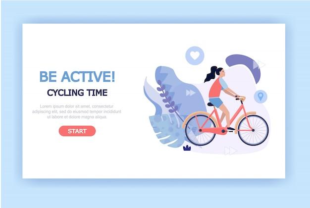 Concept d'illustration de mode de vie sain et actif pour les pages de destination