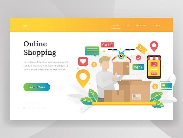 Concept d'illustration moderne design plat d'achats en ligne