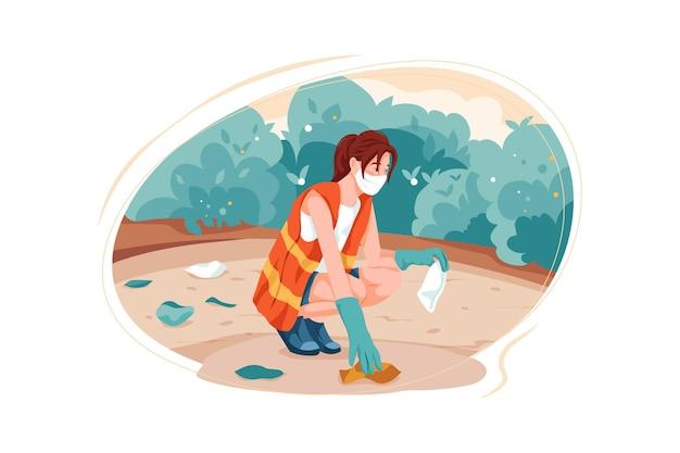 Concept d'illustration de nettoyage de la terre