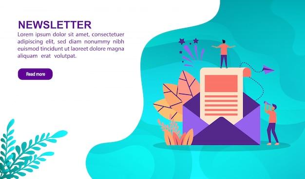 Concept d'illustration newsletter avec personnage. modèle de page de destination