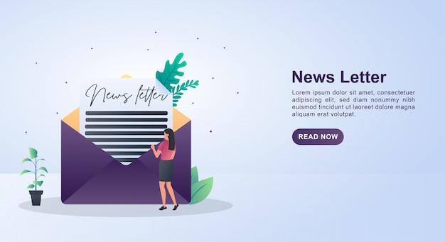 Concept d'illustration de la newsletter avec des personnes qui lisent.