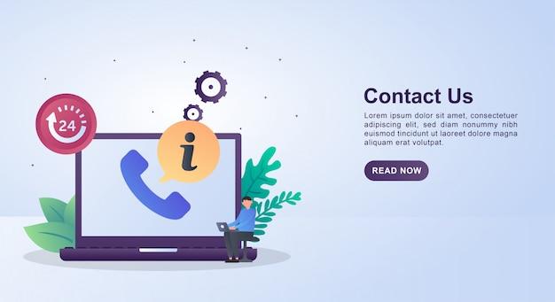 Concept d'illustration de nous contacter avec le symbole 24 heures marquant le service jusqu'à 24 heures sans interruption.
