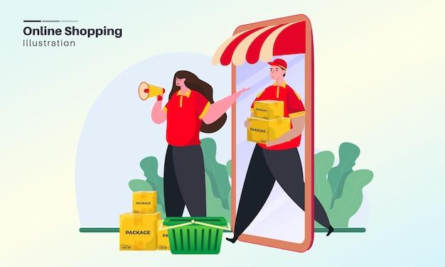 Concept d'illustration de l'offre de promotion des achats en ligne