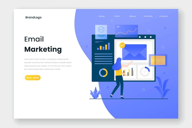 Concept d'illustration de page de destination marketing par e-mail