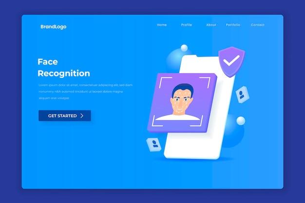 Concept d'illustration de la page de destination de la reconnaissance faciale.