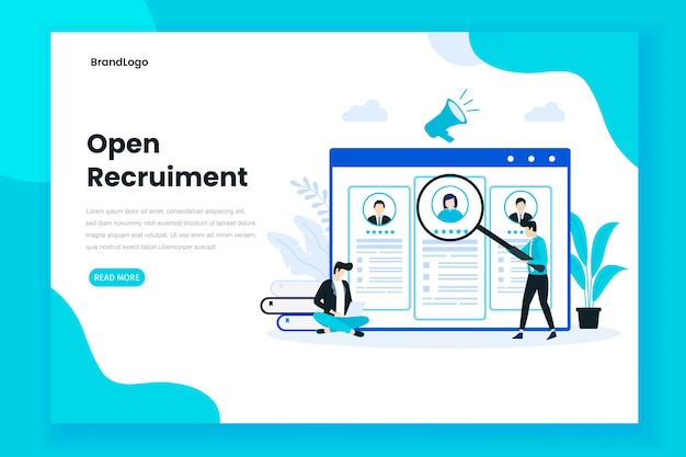 Concept d'illustration de page de destination de recrutement ouvert