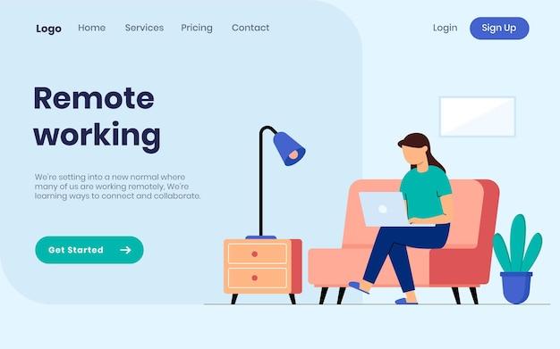 Concept d'illustration de page de destination de travail à distance femme travaillant à domicile avec ordinateur portable