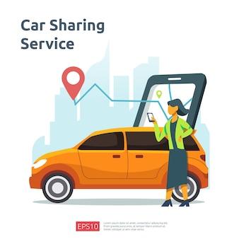 Concept d'illustration de partage de voiture. taxi en ligne ou location de transport à l'aide d'une application de service pour smartphone avec emplacement des caractères et des points d'itinéraire sur la carte gps pour la page de destination, la bannière, le web, l'interface utilisateur, le dépliant