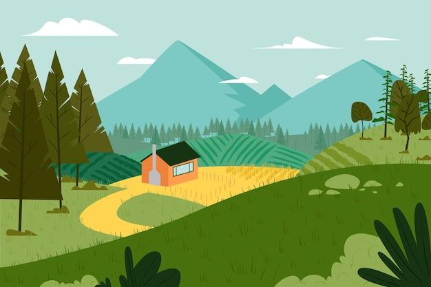 Concept d'illustration de paysage de campagne
