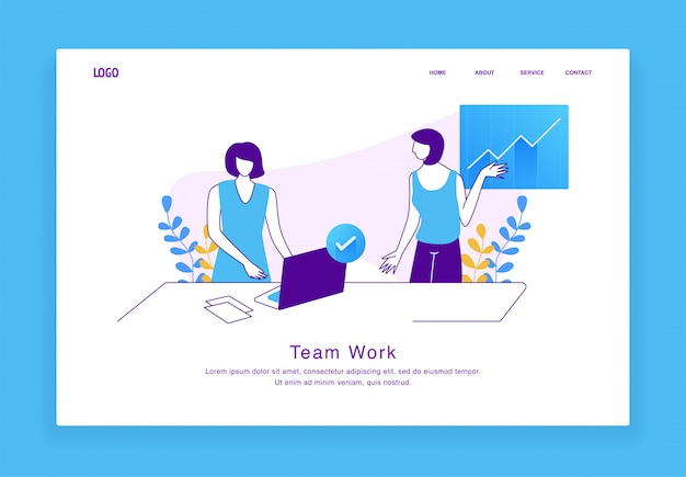 Concept d'illustration personnalisé moderne de femmes travaillant ensemble en équipe pour le site web et le site web mobile. modèle de page de destination