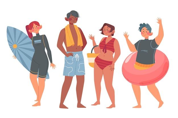 Concept d'illustration de personnes de plage