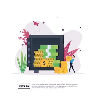Concept d'illustration avec des personnes qui économisent de l'argent dans un coffre-fort.