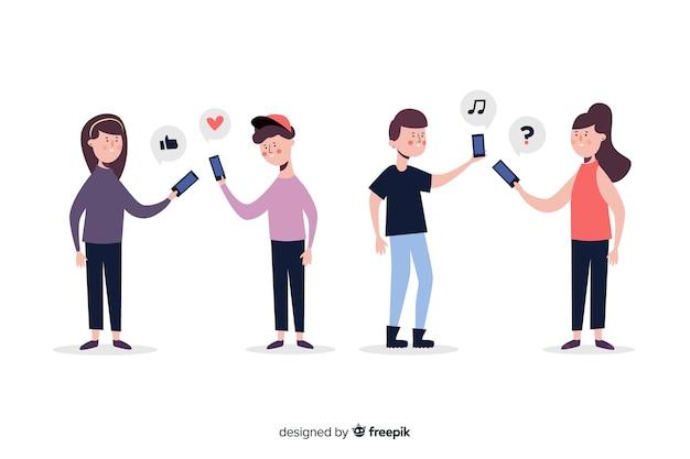 Concept d'illustration avec des personnes tenant des smartphones