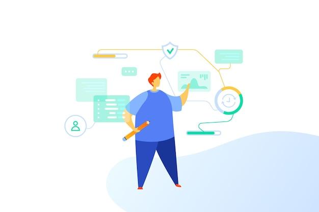 Concept d'illustration plat d'accès sécurisé aux données de protection