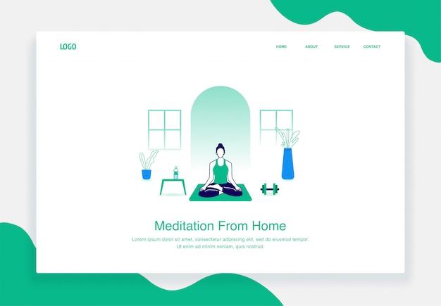 Concept d'illustration plat des femmes faisant de la méditation de yoga à domicile pour le modèle de page de destination