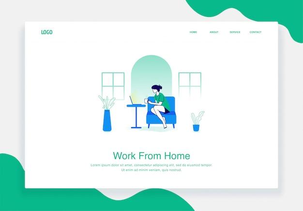 Concept d'illustration plat des femmes travaillent à domicile à l'aide d'un ordinateur portable pour le modèle de page de destination