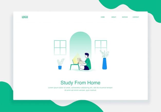 Concept d'illustration plat des hommes travaillent à domicile à l'aide d'un ordinateur portable pour le modèle de page de destination