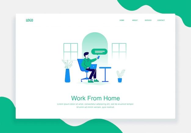 Concept d'illustration plat des hommes travaillent à domicile à l'aide d'un ordinateur portable tout en envoyant des sms avec un smartphone pour le modèle de page de destination