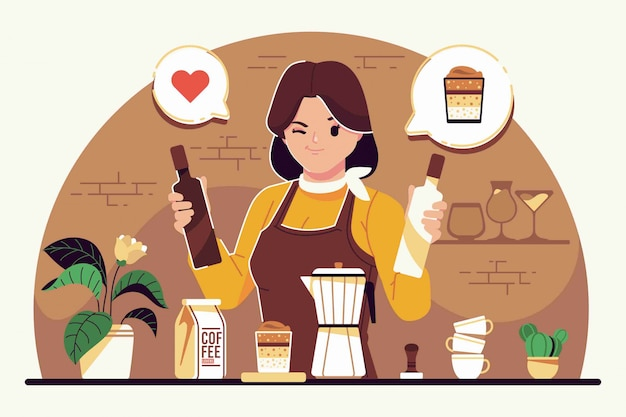 Concept d'illustration plate barista