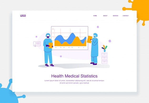 Concept d'illustration plate de l'équipe médicale montrant l'analyse des données de santé, statistique du diagramme covid 19 pour le modèle de page de destination