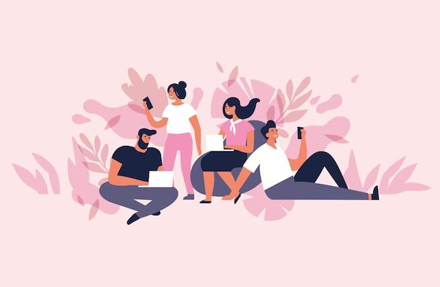 Concept d'illustration pour l'espace de travail collaboratif. jeunes indépendants travaillant sur des ordinateurs portables et des ordinateurs.