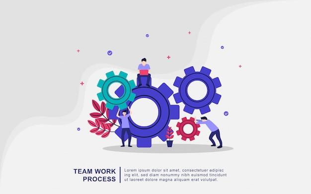Concept d'illustration de processus de travail d'équipe. coworking, freelance, travail d'équipe