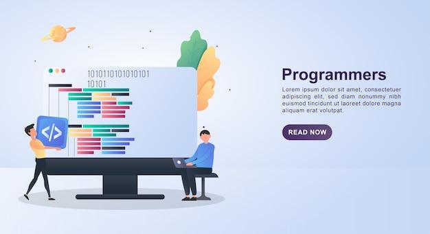 Concept d'illustration des programmeurs avec la personne tenant l'ordinateur portable.