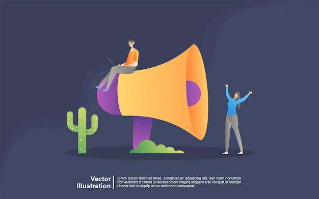 Concept d'illustration de la promotion des affaires avec des gens minuscules.
