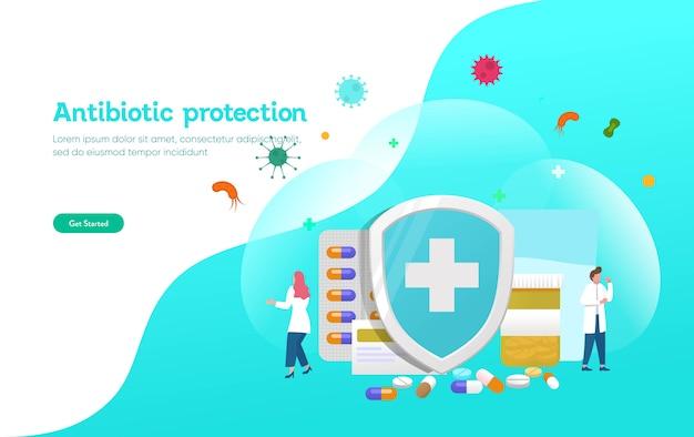 Concept d'illustration de la protection antibiotique, les gens se battent avec le virus et la bactérie avec bouclier et pilule, affiche