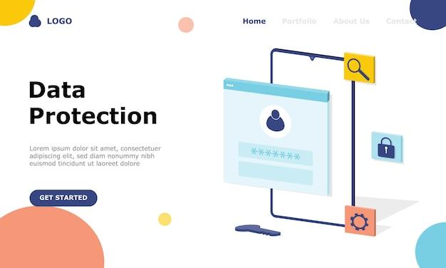 Concept d & # 39; illustration de protection des données