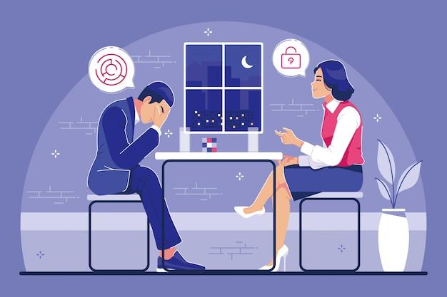 Concept d'illustration psychologue thérapie conseil