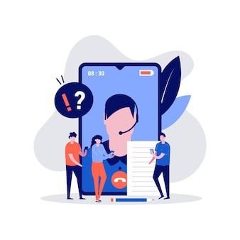 Concept d'illustration de questions fréquemment posées avec personnage parlant avec le support client.