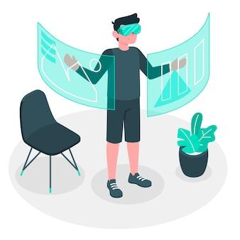 Concept d'illustration de la réalité virtuelle