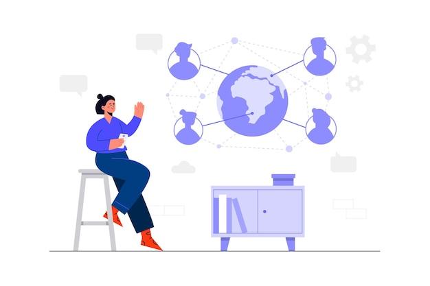 Concept d'illustration de réseau social
