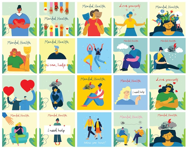 Concept d'illustration de la santé mentale. interprétation visuelle de la psychologie de la santé mentale dans le design plat