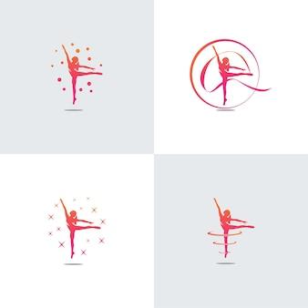 Concept d'illustration silhouette gymnastique rythmique