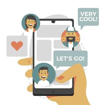 Concept d'illustration simple plat moderne de médias sociaux
