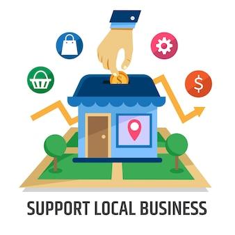 Le concept d'illustration soutient les entreprises locales