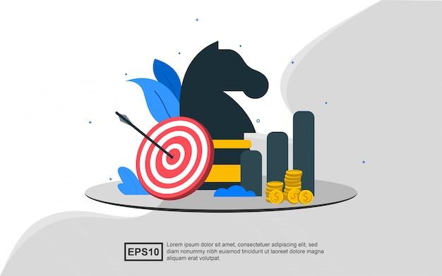 Concept d'illustration de stratégie d'entreprise avec des pièces d'échecs avec cible et diagramme croissant.