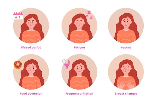 Concept d'illustration de symptômes de grossesse