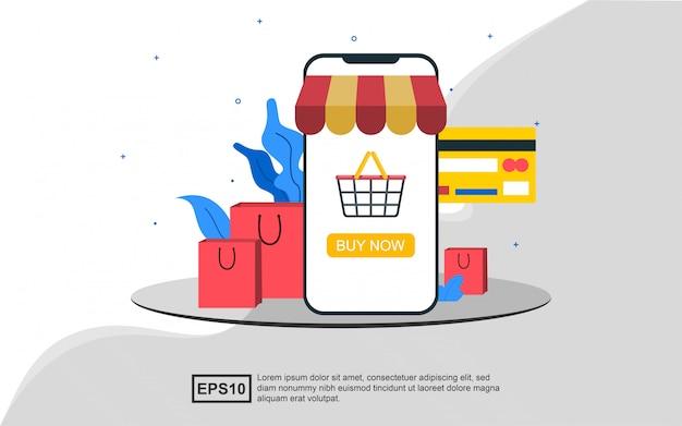 Concept d'illustration de thème de commerce électronique ou de magasinage en ligne.