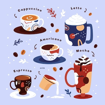 Concept d'illustration de types de café